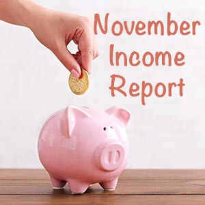 Novemebr income report feature image of a piggy bank